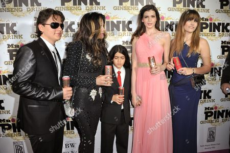 Stock Photo of From left, Prince Michael Jackson, LaToya Jackson, Blanket Jackson, Monica Gabor and Paris Jackson attend the Mr. Pink Ginseng launch party at the Beverly Wilshire hotel, in Beverly Hills, Calif