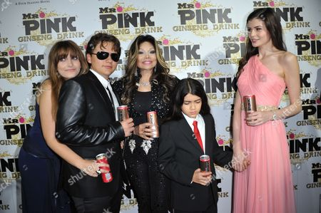 From left, Paris Jackson, Prince Michael Jackson, Latoya Jackson, Blanket Jackson and Monica Gabor attend the Mr. Pink Ginseng launch party at the Beverly Wilshire hotel, in Beverly Hills, Calif