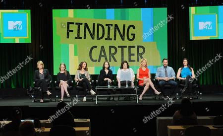 """Executive producer Deborah Spera, Anna Jacoby-Heron, executive producer Maria Grasso, Kathryn Prescott, executive producer Terri Minsky, Cynthia Watros, Alexis Denisof and Milena Govich attend the MTV 2014 Summer TCA - """"Finding Carter"""" at the Beverly Hilton Hotel, in Beverly Hills, Calif"""