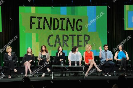 """Stock Picture of Executive producer Deborah Spera, Anna Jacoby-Heron, executive producer Maria Grasso, Kathryn Prescott, executive producer Terri Minsky, Cynthia Watros, Alexis Denisof and Milena Govich attend the MTV 2014 Summer TCA - """"Finding Carter"""" at the Beverly Hilton Hotel, in Beverly Hills, Calif"""