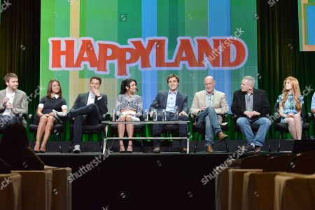 """Creator Ben Epstein, and from left, Camille Guaty, Shane Harper, Bianca A. Santos, Cameron Moulene, executive producers Neil Meron and Craig Zadan, and Katherine McNamara attend the MTV 2014 Summer TCA - """"Happyland"""" at the Beverly Hilton Hotel, in Beverly Hills, Calif"""