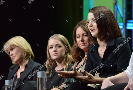 """Executive producer Deborah Spera, and from left, Anna Jacoby-Heron, executive producer Maria Grasso and Kathryn Prescott attend the MTV 2014 Summer TCA - """"Finding Carter"""" at the Beverly Hilton Hotel, in Beverly Hills, Calif"""