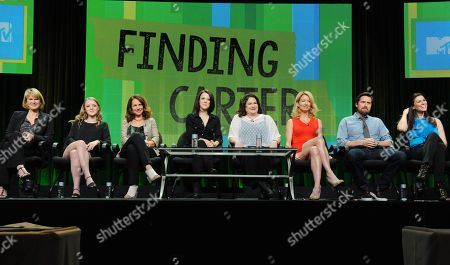 """Stock Photo of Executive producer Deborah Spera, Anna Jacoby-Heron, executive producer Maria Grasso, Kathryn Prescott, executive producer Terri Minsky, Cynthia Watros, Alexis Denisof and Milena Govich attend the MTV 2014 Summer TCA - """"Finding Carter"""" at the Beverly Hilton Hotel, in Beverly Hills, Calif"""