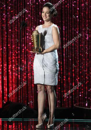 Martha MacIsaac presents the award trailblazer award at the MTV Movie Awards on in Los Angeles