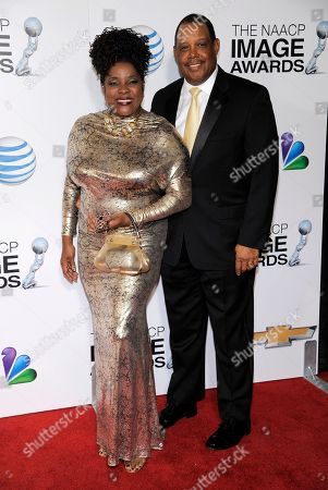Loretta Devine, left, and Glenn Marshall arrive at the 44th Annual NAACP Image Awards at the Shrine Auditorium in Los Angeles on