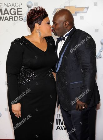 Tamela Mann, left and David Mann arrive at the 44th Annual NAACP Image Awards at the Shrine Auditorium in Los Angeles on
