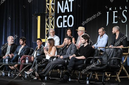 Stock Photo of From left, front row, Kelsey Grammer, Eion Macken, Emmanuelle Chriqui, Stephanie Leonidas, Haaz Sleiman, Joe Doyle, from left, back row, Teri Weinberg, David Zucker, Walon Green, Chris Ryman, and Alexis Rodney on stage at National Geographic Channel 2015 Winter TCA, in Pasadena, Calif