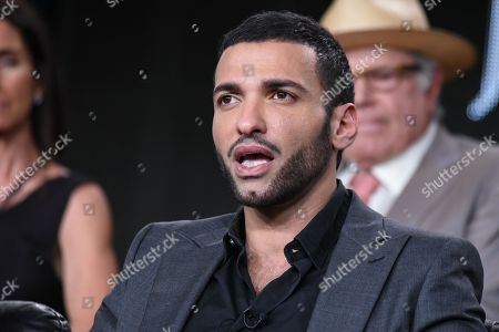 Haaz Sleiman speaks on stage at the National Geographic Channel 2015 Winter TCA, in Pasadena, Calif