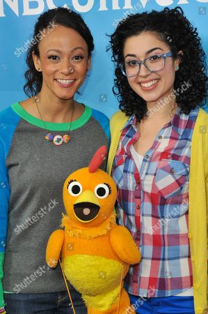 From left, Kaitlin Becker, Chica, and Carly Ciarrocchi seen at the NBC/Universal Winter 2014 TCA on in Pasadena, Calif