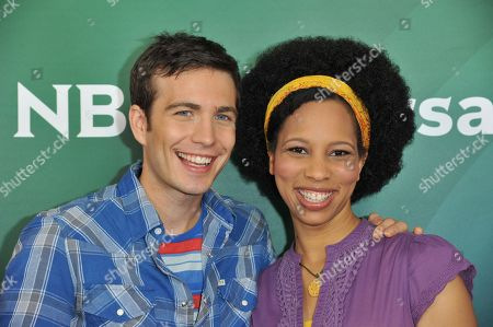 Tim Kubart, left, and Dennisha Pratt seen at the NBC/Universal Winter 2014 TCA on in Pasadena, Calif