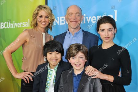 Stock Image of From left, Jenna Elfman, Lance Lim, J.K. Simmons, Eli Baker, and Ava Deluca-Verley, seen at the NBC/Universal Winter 2014 TCA on in Pasadena, Calif