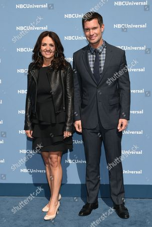 Jenni Pulos and Jeff Lewis attend the NBCUniversal 2016 Upfront Presentation at Radio City Music Hall, in New York
