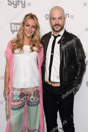 """Stock Image of Miranda Raison, leflt, and Marc Andre Grondin of """"Spotless"""" attend the NBCUniversal Cable Entertainment 2015 Upfront at The Javits Center, in New York"""