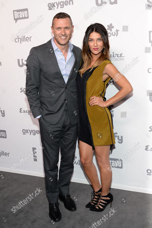 Actors Jason O'Mara, left, and Jessica Szohr attend the NBCUniversal Cable Entertainment 2015 Upfront at The Jacob Javits Center, in New York