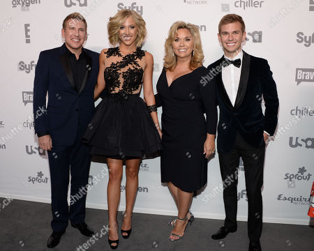"""Chrisley Knows Best"""", from left to right, Todd Chrisley, Savannah Chrisley, Julie Chrisley and Chase Chrisley attends the NBCUniversal Cable Entertainment 2015 Upfront at The Javits Center, in New York"""