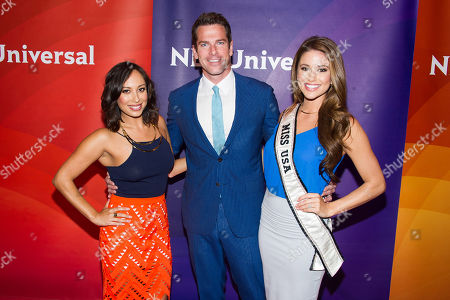 Cheryl Burke, left, Thomas Roberts and Nia Sanchez arrive at the NBCUniversal New York Summer Press Day event at The Four Seasons Hotel, in New York