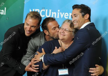 L-R) Tim Lopez, Ernesto Arguello and Ben Patton pose with a member of the press at NBCUniversal's 2012 Summer Press Tour at the Beverly Hilton Hotel, in Beverly Hills, Calif