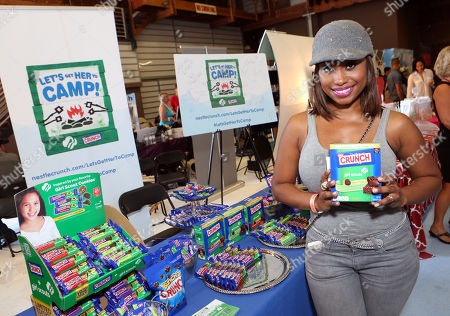 Actress Angell Conwell supports the #LetsGetHerToCamp campaign with Nestle Crunch Girl Scout Candy Bars at an Emmy Awards gift suite on in Los Angeles. To help send girls to Girl Scout camp visit NestleCrunch.com/LetsGetHerToCamp by August 31
