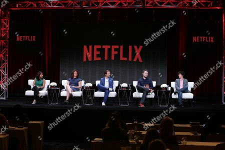 Stock Picture of Director/Producer, Hot Girls Wanted- Jill Bauer, Director, What Happened, Miss Simone? - Liz Garbus, Director, Virunga - Orlando von Einsiedel, Director, Chefâ?™s Table - David Gelb and Subject and Executive Producer, Tig - Tig Notaro seen at Netflix 2015 Summer TCA at the Beverly Hilton Hotel, in Beverly Hills, CA