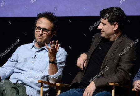 "Executive producer Jake Kasdan, left, and executive producer Brett Baer at the Academy's screening and Q and A of the television series ""New Girl"" at the Leonard H. Goldstein Theatre on in Los Angeles"