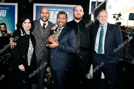 """Sue Kroll, President of Worldwide Marketing and International Distribution for Warner Bros. Pictures, Producer/Actor Keegan-Michael Key, Keanu, Writer/Producer/Actor Jordan Peele, Director Peter Atencio and Toby Emmerich, President and COO, New Line Cinema, seen at New Line Cinema Los Angeles Premiere of """"Keanu"""" at ArcLight Cinerama Dome Theater, in Hollywood"""