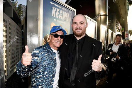 """Jean-Claude Van Damme and Director Peter Atencio seen at New Line Cinema Los Angeles Premiere of """"Keanu"""" at ArcLight Cinerama Dome Theater, in Hollywood"""