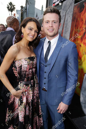 "Carla Gugino and Hugo Johnstone-Burt seen at New Line Cinema presents the Los Angeles World Premiere of ""San Andreas"" at TCL Chinese Theatre, in Hollywood, CA"