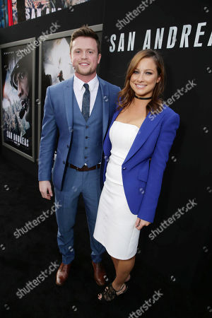 "Hugo Johnstone-Burt and Romy Poulier seen at New Line Cinema presents the Los Angeles World Premiere of ""San Andreas"" at TCL Chinese Theatre, in Hollywood, CA"