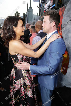 """Carla Gugino and Hugo Johnstone-Burt seen at New Line Cinema presents the Los Angeles World Premiere of """"San Andreas"""" at TCL Chinese Theatre, in Hollywood, CA"""