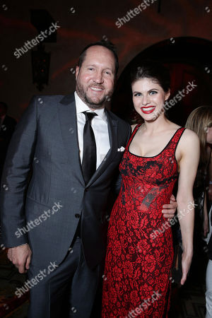 "Producer Beau Flynn and Alexandra Daddario seen at New Line Cinema presents the Los Angeles World Premiere of ""San Andreas"" at TCL Chinese Theatre, in Hollywood, CA"