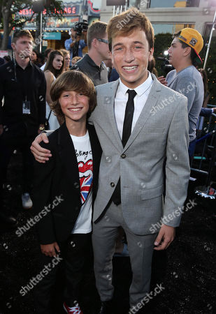 """Steele Stebbins and Skyler Gisondo seen at the New Line Cinema presents the Premiere of """"Vacation"""" held at Regency Village Theatre, in Westwood, Calif"""