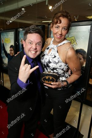 """Mike Jutan and Executive Director, Make-A-Wish Greater Bay Area - Patricia Wilson seen at New Line Cinema Los Angeles Special Screening of """"Batkid Begins"""" at The Landmark Theatre, in Los Angeles, CA"""