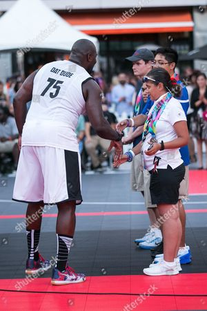 Marcellus Wiley greets Special Olympics athletes at the Nike Basketball 3ON3 Tournament - ESPNLA 710 All-Star Celebrity Game held at L.A. LIVE's Microsoft Square, in Los Angeles