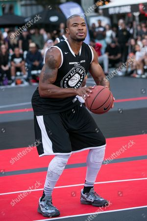 Corey Maggette plays in the Nike Basketball 3ON3 Tournament - ESPNLA 710 All-Star Celebrity Game held at L.A. LIVE's Microsoft Square, in Los Angeles