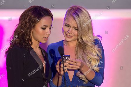 From left, actresses Savannah Jayde and Kelli Goss on stage during the No Bull Teen Video Awards at the Westin LAX Hotel on in Los Angeles