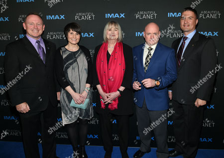 """Commander Barry """"Butch"""" Wilmore, left, European Space Agency Astronaut Samantha Cristoforetti, director Toni Myers, Former NASA Astronaut Scott Kelly and Flight Engineer Dr. Kjell Lindgren attend the premiere of """"A Beautiful Planet"""" at AMC Loews Lincoln Square, in New York"""