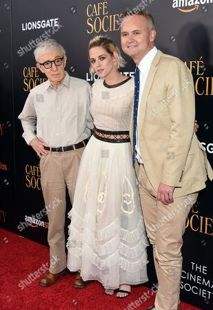 """Director Woody Allen and actress Kristen Stewart and Amazon Studios head Roy Price attend the premiere of Amazon Studio and Liongate's """"Cafe Society"""", hosted by The Cinema Society, at the Paris Theatre, in New York"""