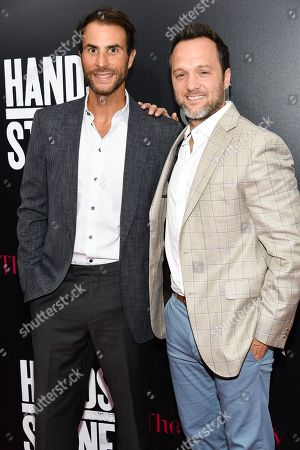 """Executive producer Ben Silverman, left, and producer Jay Weisleder attend the U.S. premiere of """"Hands of Stone"""" at the SVA Theatre, in New York"""