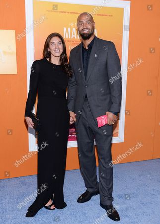 """Hope Solo and husband Jerramy Stevens attend the premiere of """"He Named Me Malala"""" at The Ziegfeld Theatre, in New York"""