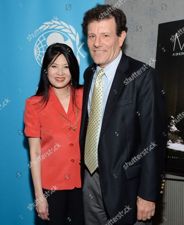 """Authors Nicholas Kristof and wife Sheryl WuDunn attend the premiere of """"Meena"""" at the AMC Loews Theater on in New York"""