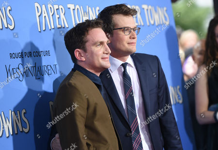 """Director Jake Schreier, left, and author John Green attend the premiere of """"Paper Towns"""" at AMC Loews Lincoln Square, in New York"""