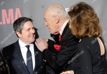 "Brad Grey, left, Leonard Lauder and girlfriend Linda Johnson attend the premiere of ""Selma"" at the Ziegfeld Theatre, in New York"