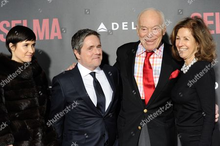 "Chairman and CEO of Paramount Pictures Brad Grey and Cassandra Huysentuyt pose with Leonard Lauder and girlfriend Linda Johnson at the premiere of ""Selma"" at the Ziegfeld Theatre, in New York"