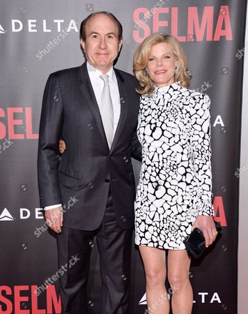 "Viacom President and CEO Philippe Dauman, left, and Deborah Dauma attend the premiere of ""Selma"" at the Ziegfeld Theatre, in New York"