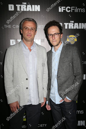 """Directors Andrew Mogel, left, and Jarrad Paul attend the premiere for """"The D Train"""" hosted by The Cinema Society at the Landmark Sunshine Cinema, in New York"""