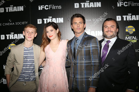 "Stock Picture of From left, Russell Posner, Kathryn Hahn, James Marsden and Jack Black attend the premiere for ""The D Train"" hosted by The Cinema Society at the Landmark Sunshine Cinema, in New York"