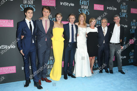 """Stock Image of Left to right) Actors Nat Wolff, Ansel Elgort, Shailiene Woodley, Sam Trammell, Laura Dern, Elizabeth Gabler, president of Fox 2000, Jim Gianopulos, chairman & CEO of Fox Filmed Entertainment, and director Josh Boone attend the premiere of 20th Century Fox's """"The Fault In Our Stars"""" at the Ziegfeld Theatre, in New York"""