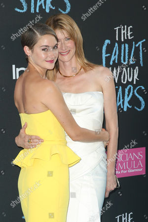 Stock Picture of Actresses Laura Dern, right, and Shailiene Woodley attend the premiere of 20th Century Fox's 'The Fault In Our Stars' at the Ziegfeld Theatre, in New York