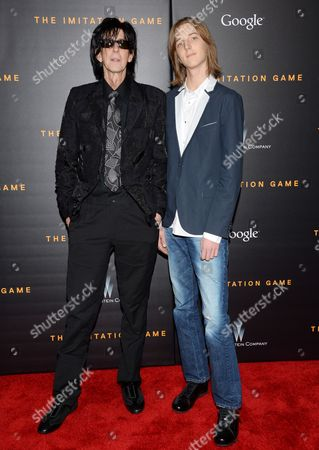 """Stock Image of Musician Ric Ocasek and son Oliver Orion Ocasek attend the premiere of """"The Imitation Game"""" at Ziegfeld Theatre, in New York"""