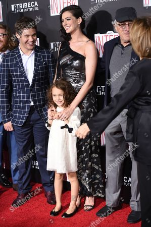 "Actors Adam Devine, JoJo Kushner, Anne Hathaway, Robert De Niro, and director Nancy Meyers attend the premiere of ""The Intern"" at the Ziegfeld Theatre, in New York"